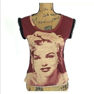 Desigual L M Top Tee Shirt Marilyn Monroe Face Art